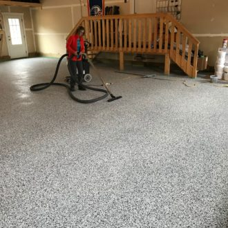 concrete floor coating final touches